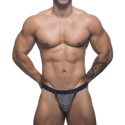 "Трусы-джоки ""Sheer Stripe Y-Back Jock Thong - Black / Heather Stripe"""
