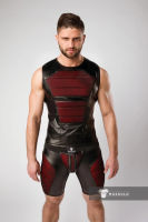 "Майка-безрукавка ""Armored - Men's Fetish Tank Top Front Pads - Red"""