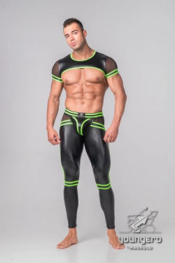 "Кроп-топ / Майка ""Youngero Generation Y - Men's Fetish Crop Top - Neon Green"""
